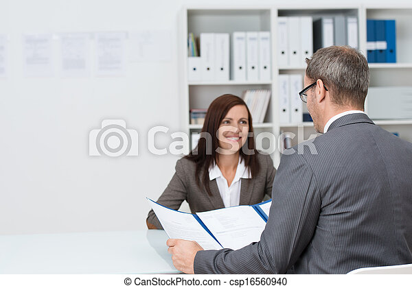 Businessman conducting an employment interview - csp16560940