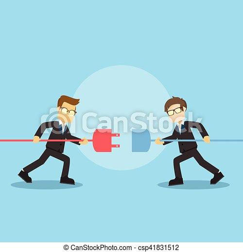businessman connecting plugs - csp41831512