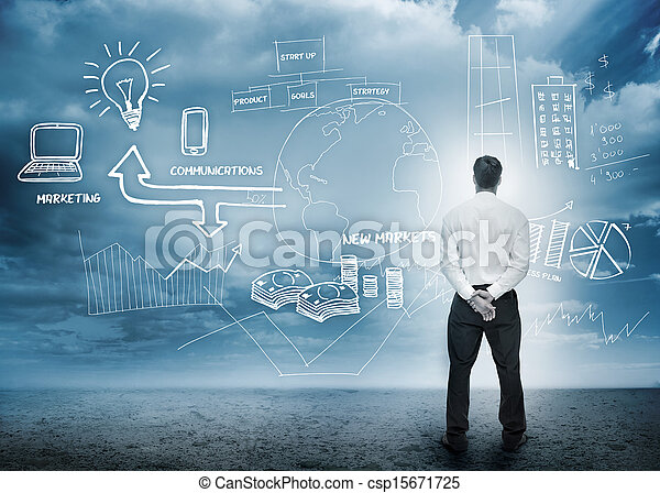 Businessman considering a brainstorm for marketing - csp15671725