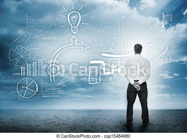 Businessman considering a brainstorm - csp15484980