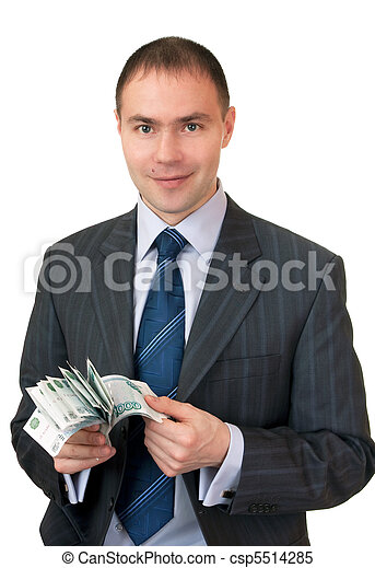 Businessman count cash. - csp5514285