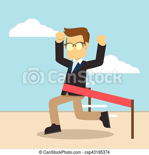 businessman crossing finish line - csp43195374