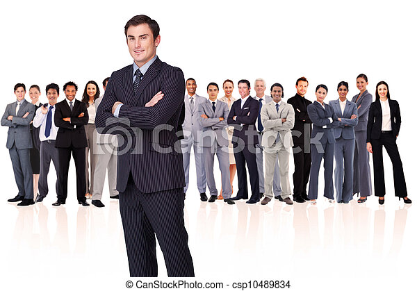 Businessman crossing his arms while standing - csp10489834