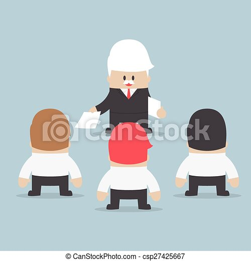 Businessman divide up the work to his employee, Delegation concept - csp27425667