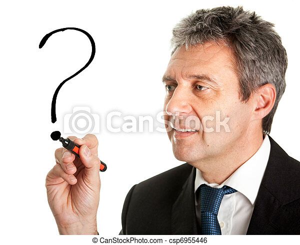 Businessman drawing a question mark - csp6955446