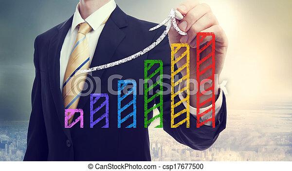Businessman drawing a rising arrow over a bar graph - csp17677500
