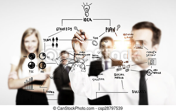 businessman drawing business concept - csp28797539