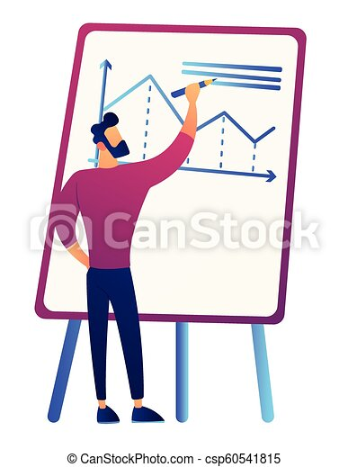 Businessman drawing growth chart on board vector illustration. - csp60541815