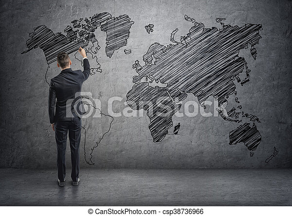 A businessman drawing world map on the concrete wall stock image businessman drawing world map on the concrete wall csp38736966 gumiabroncs Choice Image