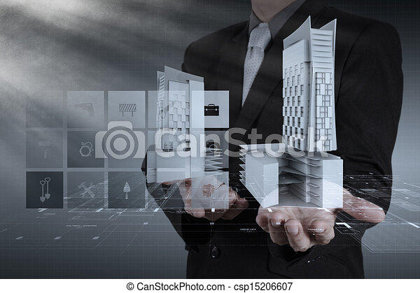 businessman draws building development - csp15206607