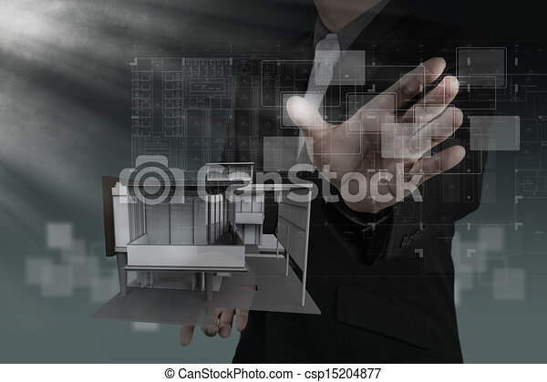 businessman draws building development - csp15204877