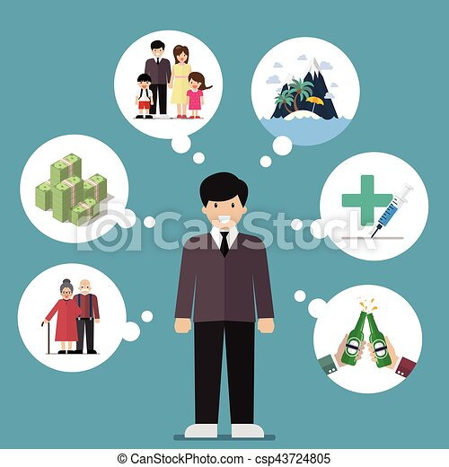 Businessman dreaming a good life - csp43724805