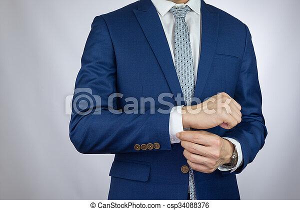 businessman dressing blue suit - csp34088376