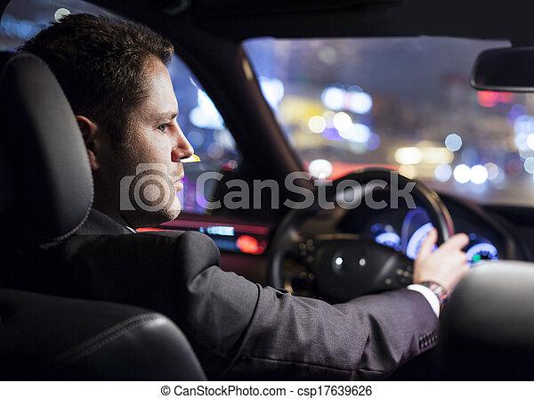 businessman driving car - csp17639626