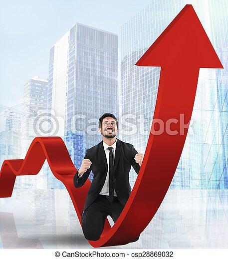 Businessman exults for economic success - csp28869032