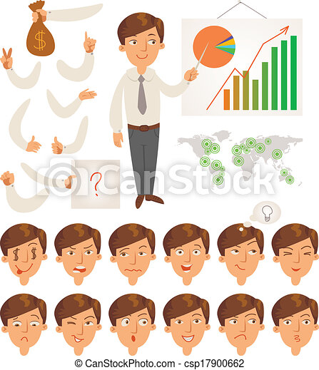 Businessman. Face and body elements - csp17900662