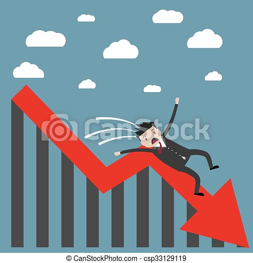businessman falling from the chart - csp33129119