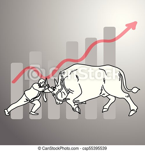 businessman fighting a bull with graph up background vector illustration doodle sketch hand drawn with black lines isolated on gray background. Business concept. - csp55395539
