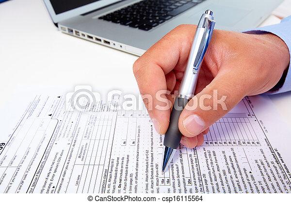 Businessman filling the form. - csp16115564