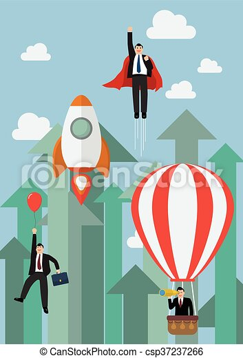 Businessman flying competition against growing up arrows - csp37237266