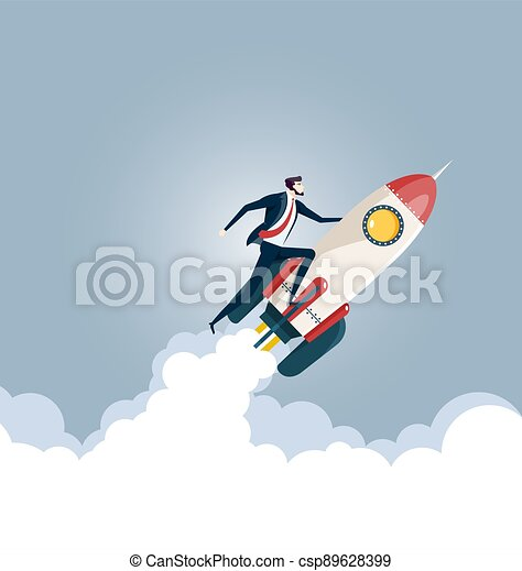 Businessman flying on a rocket, Business startup concept - csp89628399