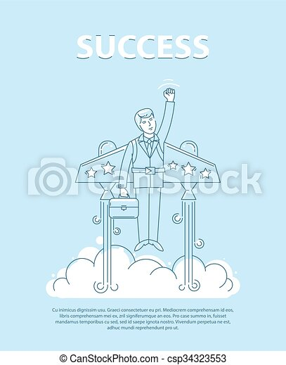 Businessman Flying On The Jetpack To Success Line Style Vector