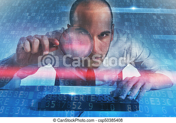 Businessman found a backdoor access on a computer. Concept of internet security - csp50385408