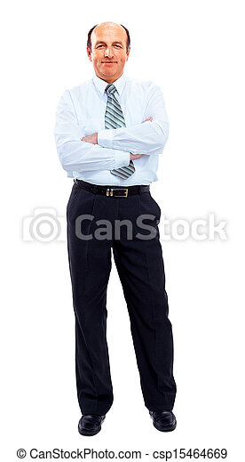 businessman full length isolated on white - csp15464669
