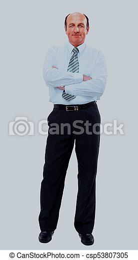 businessman full length isolated on white. - csp53807305