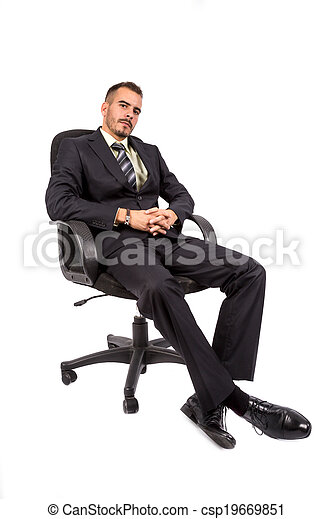 Businessman full length isolated - csp19669851