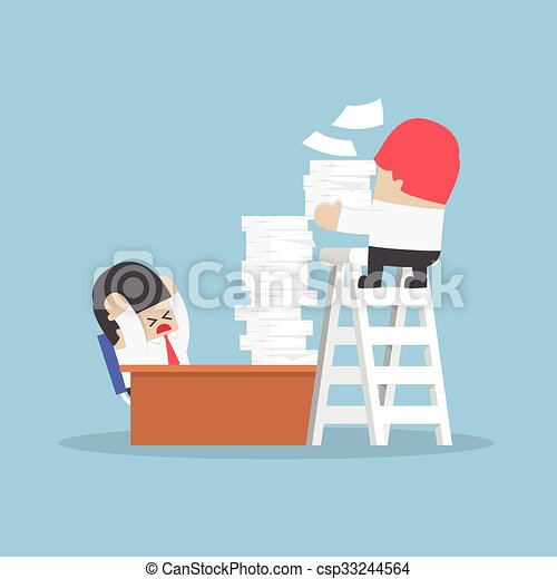 Businessman get a lot of work from his boss - csp33244564