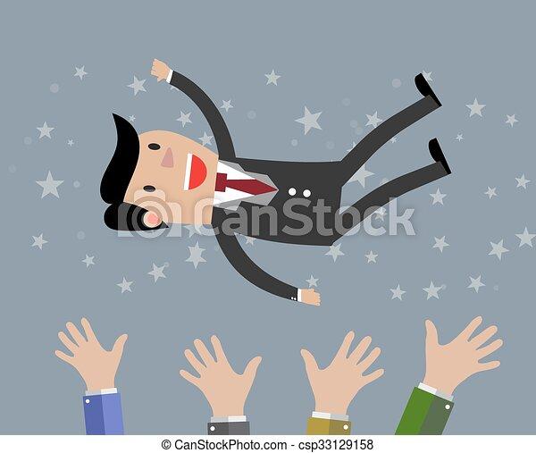 businessman get thrown into the air - csp33129158