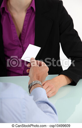 businessman giving his business card - csp10499609