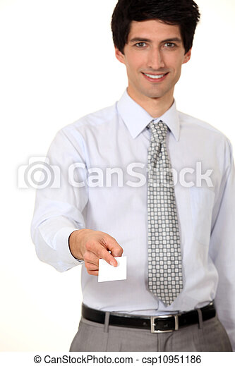 businessman giving his card - csp10951186