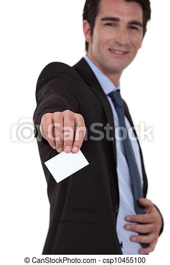 businessman giving his visit card - csp10455100