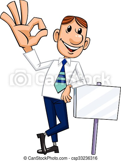 businessman giving ok businessman with blank sign shows ok rh canstockphoto com businessman clipart png sad businessman clipart