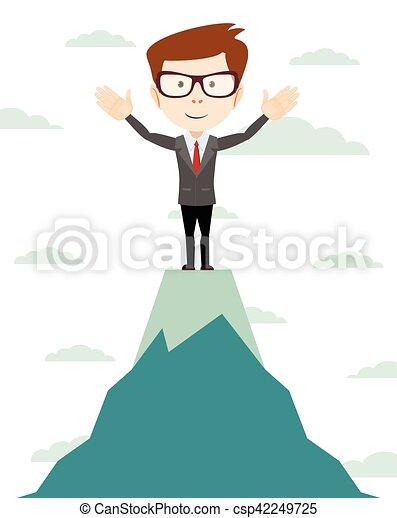 Businessman go to the top of mountain - Vector - csp42249725