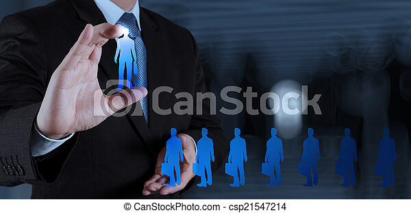 businessman hand choosing people icon as human resources concept - csp21547214