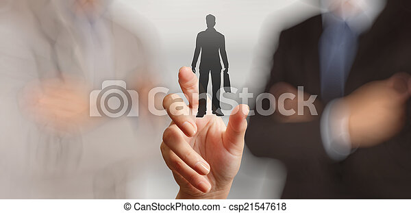 businessman hand choosing people icon as human resources concept - csp21547618