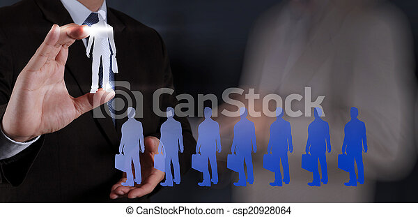 businessman hand choosing people icon as human resources concept - csp20928064