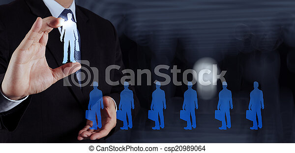businessman hand choosing people icon as human resources concept - csp20989064