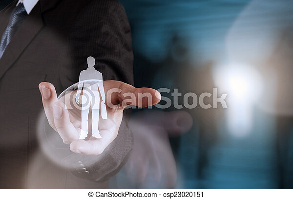 businessman hand choosing people icon as human resources concept - csp23020151