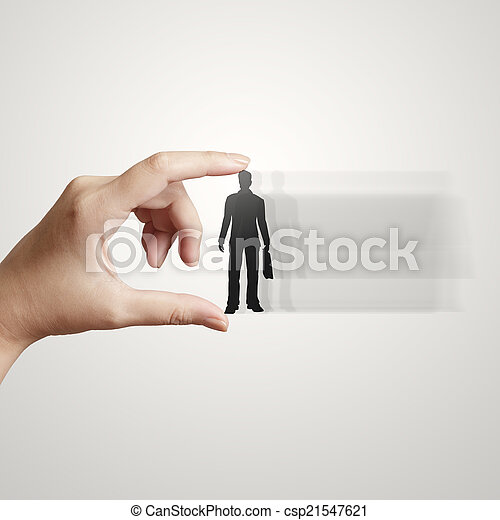 businessman hand choosing people icon as human resources concept - csp21547621