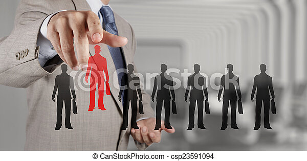 businessman hand choosing people icon as human resources concept - csp23591094