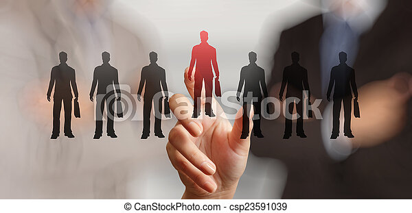 businessman hand choosing people icon as human resources concept - csp23591039