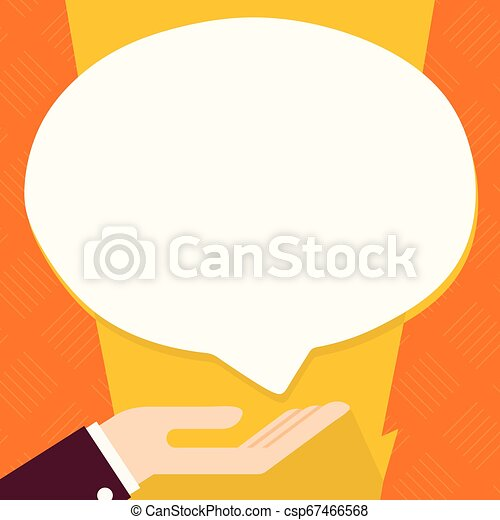 Businessman Hand Doing the Donation Sign Icon. Palm Up in Supine Position under Round Blank White Speech Bubble. Creative Idea for Charitable Institution, Foundation, Volunteering. - csp67466568