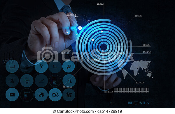 businessman hand drawing virtual chart business  - csp14729919