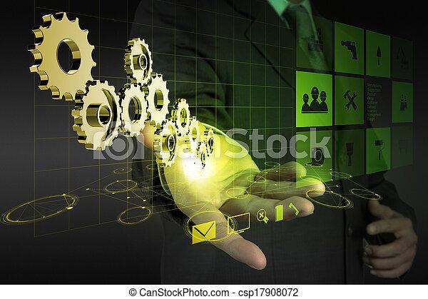 businessman hand draws gear to success  - csp17908072