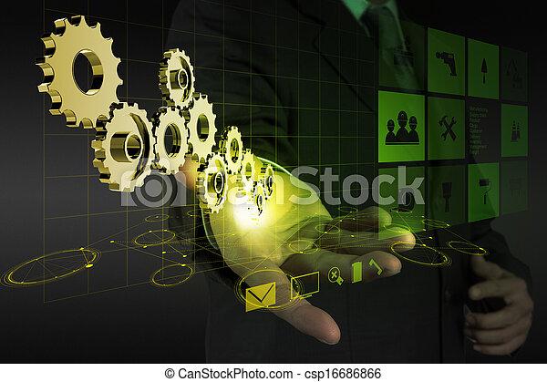 businessman hand draws gear to success  - csp16686866