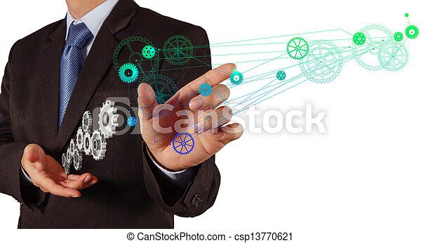 businessman hand draws gear to success  - csp13770621